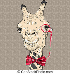 morsom, kamel, vektor, closeup, portræt, hipster