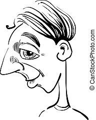 morsom, karikatur, mand