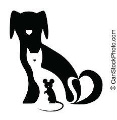 morsom, komposition, mus, hund, kat