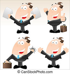 morsom, sæt, forretningsmænd, cartoon