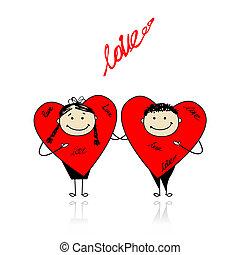 morsom, sammen, valentine, day., konstruktion, hjerter, din