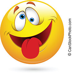 morsom, smiley ansigt, vektor, tunge ydre