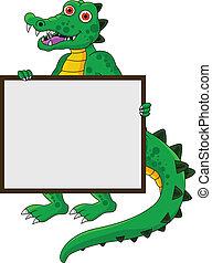 morsom, tegn, krokodille, blank