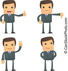 morsom, tommelfinger oppe, derned, forretningsmand, greb, cartoon