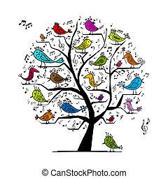 morsom, træ, fugle, konstruktion, sang, din
