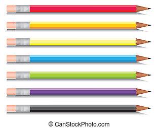 multi-coloured, syv, sæt, blyanter, colours., vektor, illustration