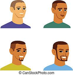 multi-ethnic, mænd, avatar, cartoon