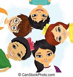 multi etniske, danne, cirkel, gruppe, børn