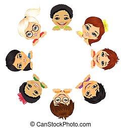 multi, gruppe, børn, etniske