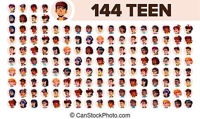 multinationale, sæt, folk, mandlig, female., asiat, ethnic., adolescent, vector., europæisk, lejlighed, illustration, portrait., emotions., arab., multi, zeseed, afrikansk, avatar, icon., racial., bruger
