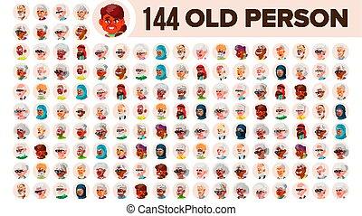 multinationale, sæt, gamle folk, elderly mandlig, female., asiat, ethnic., vector., europæisk, lejlighed, illustration, portrait., bruger, arab., multi, zeseed, person, afrikansk, avatar, icon., racial., emotions.
