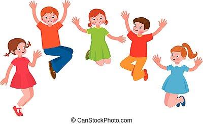 muntre, gruppe, illustration, børn, hop, vektor, cartoon