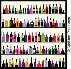mur, flasker, alkohol