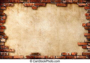 mur, grungy, mursten, ramme