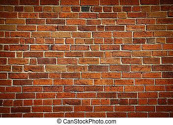 mur, mursten, plettet, gamle, weathered