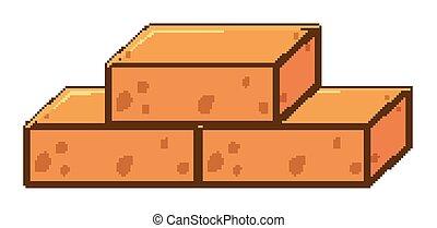mursten, hvid baggrund, tre, blokke