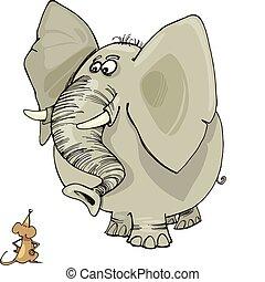 mus, elefant