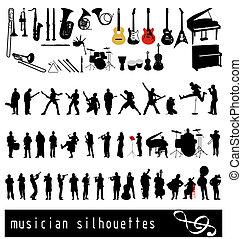 musican, silhuetter