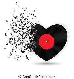 musik, notere., vektor, card, valentines, hjerte, dag, glade, illustration