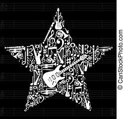 musik, stjerne, baggrund