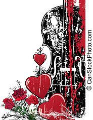 musikalsk begavet, blomstrede, valentine, vektor, komposition