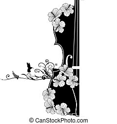 musikalsk begavet, vektor, komposition, blomstrede