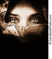 mystiske, øjne, kvinde, sensuelle