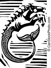 mytologiske, hippocampus