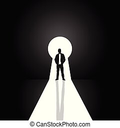 nøglehul, silhuet, illustration, mand