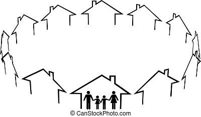 naboer, familie, samfund, huse, hjem, grundlæg