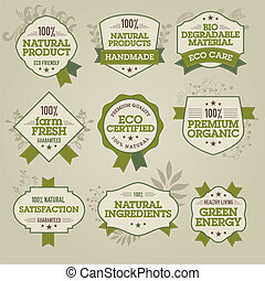 naturlig, etiketter, sæt
