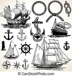 nautiske, ikon, sæt