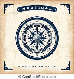nautiske, vinhøst, kompas