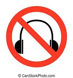 nej, hovedtelefoner, illustration., tegn
