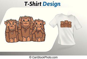 nej, isoleret, aber, oppe, onde, tre, t-shirt, baggrund., se, vektor, konstruktion, hvid, print., template., mock, skabelon