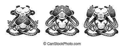 nej, tal, ears., tre, vektor, illustration., se, monkeys., øjne, aflukket, abe, håndlavet, dets, hvid, mund, onde, evil., sort, afhøre