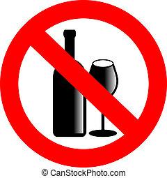 nej, vektor, alkohol, tegn