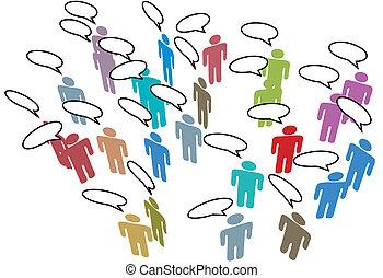 netværk, farverig, folk, medier, tale, sociale, møde