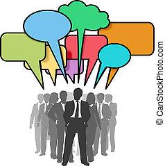 netværk, folk branche, bobler, farverig, samtalen