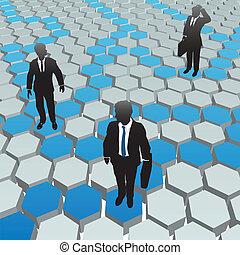 netværk, folk branche, medier, sociale, sekskant