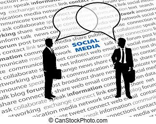 netværk, folk branche, tekst, sociale, bobler, samtalen