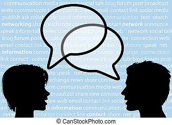 netværk, folk, dele, tale, sociale, bobler, samtalen