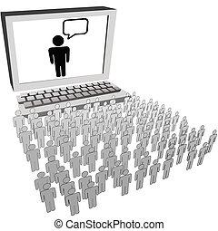 netværk, folk, iagttag, audience, computer, sociale, dataskærm