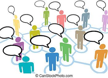 netværk, folk, kommunikation, sammenhængee, tale, sociale, samtalen