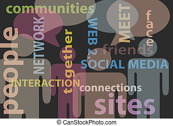 netværk, folk, medier, kommunikation, tale, sociale