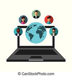 netværk, folk, medier, laptop, kommunikation, sociale, verden