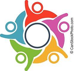netværk, folk, samfund, konstruktion, sammenhænge, logo