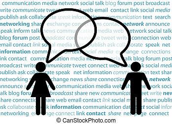 netværk, folk, symbol, dele, sociale, bobler, samtalen