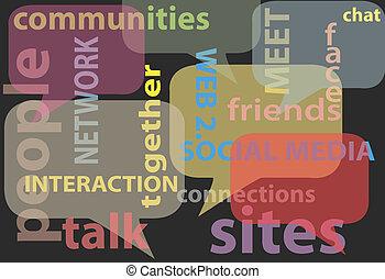 netværk, medier, gloser, sociale, bobler, samtalen