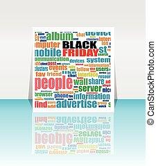 netværk, sociale, friday., vektor, sort baggrund, keywords., illustration.
